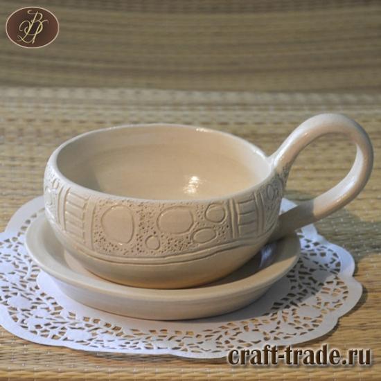 """Чашка с блюдцем """"Белые камушки"""""""