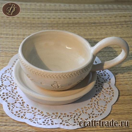 Чашка с блюдцем - оберег. Белая глина.