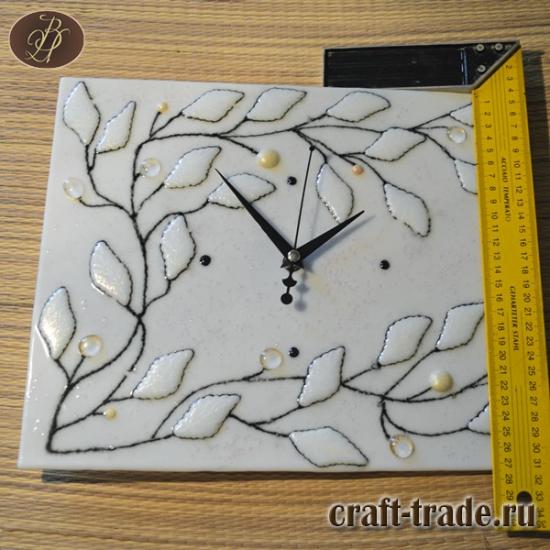 """Часы настенные фьюзинг """"Жемчужные листья"""""""