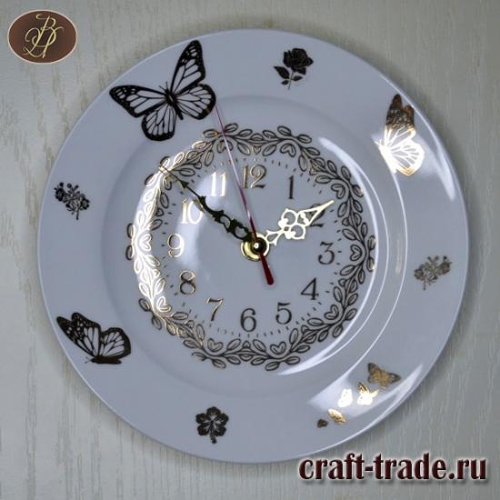 """Часы фарфоровые настенные """"Бабочки"""""""